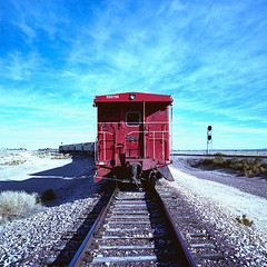 caboose. boron, ca. 2011. (eyetwist) Tags: california county railroad red sky west 120 6x6 mamiya film analog train mediumformat square 50mm xpro crossprocessed fuji desert crossprocess rail wideangle icon ishootfilm caboose kern socal american highdesert mojave rails lonely analogue mamiya6 siding curve 50 fujichrome signal e6 hopper mojavedesert boron 58 borax emulsion rfp c41 2011 primes f4l 50d eyetwist ishootfuji 6mf mamiya6mf theicon epsonv750pro recentlyprocessedfilm filmexif filmtagger eyetwistkevinballuff fuji50drfp crossprocessede6toc41 mamiya50mmf4l fujichrome50drfp 999798