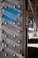 Studded (Stephanie Wesolowski) Tags: street city bridge blue light urban sunlight geometric water digital underpass t grey dc support nikon focus rust paint industrial shadows post bokeh district gray perspective georgetown beam studs studded kst