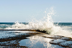 (danielle kiemel) Tags: ocean november sea seascape reflection beach landscape outdoors spring rocks waves photographer power tide australia copacabana shore nsw centralcoast whitewash waterscape copacabanabeach 2011 rockplatform daniellekiemel