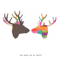 You make me so happy (Louise vanTerheijden) Tags: art woodland print deer antler myfunnyvalentine giclee
