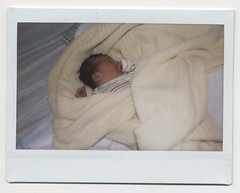 sleepy time now (golfpunkgirl) Tags: baby film hospital polaroid happy fuji birth daughter instant instaxwide avaisabella