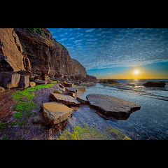 Earthquake Forge (purpleflames) Tags: cliff seascape beach sunrise landscape moss rocks australia nsw flare plates hdr highdynamicrange purpleflames newsouthwhales northnarrabeen turimetta philipavellana