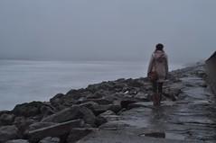 A little bit misty (garycollins2) Tags: ocean ireland sea woman beach water girl misty lady bag photography photo rocks long clare slow little coat atlantic photograph shutter bit lahinch a lehinch