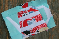 Teapot Fancy! (Three Honeybees) Tags: red white paper aqua quilt fancy teapot block patchwork piecing