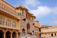 2753 Amber Palace Jaipur, Rajasthan (Traveling Man - Almost Heaven, West Virginia) Tags: india lake alan temple amber sandstone fort indian capital courtyard palace tourist marble hindu chanda jai jaipur raja rajasthan ii amer singh chaitanya subcontinent rajput city india south sawai palace hallofprivateaudience hallofpublicaudience canonef24105mmf4lisusm republic gate diwaneaam canoneos50d pink asia raja maharaja kachhawa mirror maota devi   rajput maharajas ganesh sila mansingh