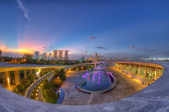 Twilight at the Marina Barrage, Singapore (Shutter wide shut) Tags: travel architecture twilight singapore technology fisheye flare scenics starbursts capitalcities traveldestinations marinabarrage rokinon8mmfisheye