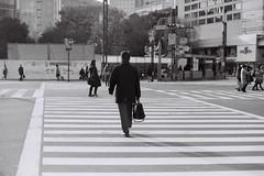 The Long Walk (OzGFK) Tags: street people man film japan analog tokyo asia crossing nikkor salaryman yurakucho nikonfm3a