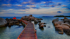 The path to an alluring scent of romance (jh_tan84) Tags: blue red sea sky cloud seascape beach dinner indonesia landscape rocks path romantic bintan banyantree privatechef