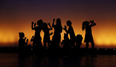 the performers (zzra) Tags: orange silhouette lights actors fuji play dancers stage performance xt1