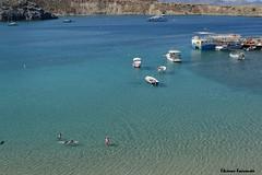 Lindos (Eleanna Kounoupa) Tags: blue sea seascape water weather boats islands rocks greece beaches swimmers rodos lindos    dodecaneseislands          littleports
