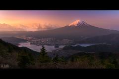 A Touch of Light (Jiratto) Tags: city light mountain lake nature japan sunrise landscape volcano town spring twilight cityscape fuji fujisan yamanashi fujiyama kawaguchigo shindotoge