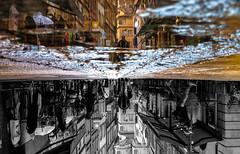 ...SecondReality... (7H3M4R713N) Tags: street streetart reflection men water puddle switzerland europe day suisse swiss streetphotography rainy neuchtel onthefloor romandie xt1 streetphotographie fujinonxf35mmf2