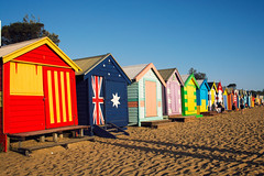Brighten Beach, Melbourne (Emily Mary.) Tags: travel sea beach nature landscape outdoors sand nikon colours australia melbourne adventure explore backpacking beachhuts