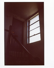 Roof Access Door And Window; New York - Photographed On Instax 210 Wide Picture Format Instant Film (hogophotoNY) Tags: lighting door roof light usa ny building film window up stairs fuji unitedstates longisland fujifilm windowlight instax instantphotography instantphoto instantfilm roofaccess hogo instaxfilm hogophoto widepictureformat instax210