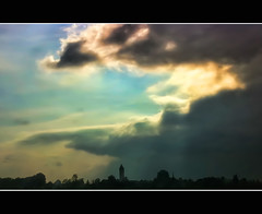 Weather change (Wim K) Tags: city sky storm holland tower netherlands dutch weather silhouette skyline clouds photography photo village stock bad nederland dramatic drama stockphoto iphone stockphotography cloudage wpk wpk2