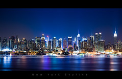 New York Skyline (Beboy_photographies) Tags: new york blue newyork building skyline canon square tour state time mark lumire reflet ii hour empire 5d bluehour soir nuit immeuble 5dmarkii