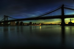 Manhattan Bridge, New York City on 11/26/2011 (mudpig) Tags: nyc newyorkcity bridge blue cloud sun ny newyork reflection brooklyn sunrise geotagged gold manhattan manhattanbridge eastriver gothamist powerplant hdr mudpig stevekelley stevenkelley
