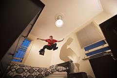 go ahead and (jæms) Tags: selfportrait man me jump bed bedroom remoteflash remoteshutter strobist