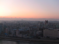 Sunset at Pyongyang city, DPRK (North Korea) (KoryoTours) Tags: city travel sunset panorama hotel evening town asia view north group korea tours pyongyang dprk koryo