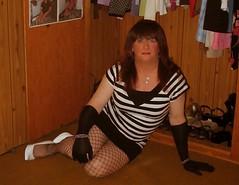 Striped Dress and Gloves (Steph1505) Tags: sexy stockings highheels legs tgirl gloves tranny heels pantyhose crossdresser tg shemale minidress