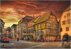 The place (Jean-Michel Priaux) Tags: street sunset sky house home colors architecture cat photoshop painting way village place alsace rue hdr tourisme ribeauvill colombage patrimoine colombages pitoresque patrimony priaux mygearandme masterclasselite