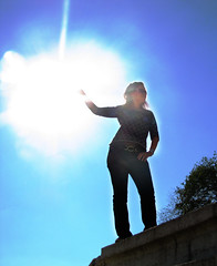 Holding the sun (Miss_Smile) Tags: blue sun girl cool bright goddess sunny shining hold holdingthesun