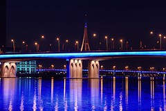 The Business Bay Crossing (Almsaeed) Tags: bridge blue water vertical canon lights bay al dubai crossing uae bin business zayed sultan ahmad 18200 sheikh rashid rashed shiekh maktoum nahyan almsaeed horziental
