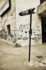 This way (Tamara van Molken) Tags: street monochrome sepia corner romania bucharest streetname roemenie bucaresti