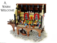 A Warm Welcome (Blake's Baericks) Tags: wood roof people food house lake water feast boat town hall lego curtain lotr creation minifig blake hobbit bilbo baggins baer moc