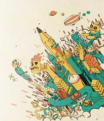 dessin (Julien Croyal) Tags: city illustration rocketman