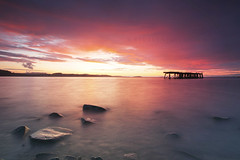 Submarine Mining Pier ... (Stuart Stevenson) Tags: uk pink red seascape photography dawn scotland pier rocks purple fife northsea warmlight northqueensferry clydevalley canon1740 forthestuary thanksforviewing canon5dmkii stuartstevenson stuartstevenson southfife carlingnosepointsunrise