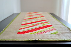 candy cane christmas table runner!  :) (.House. of A La Mode) Tags: red modern quilt linen lime paperpieced tablerunner stringblock