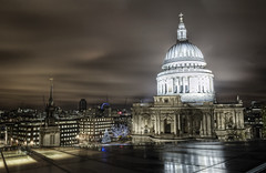 For a light to shine brightly, darkness must be present (odin's_raven) Tags: london rooftop st night shot cathedral pauls stpaulscathedral hdr