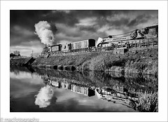 reflection............................ (4macfotography) Tags: bridge sky storm reflection train fence reeds landscape blackwhite track br box ripple smoke engine rail railway steam reservoir locomotive brake poles van guards 1001nights bushes telegraph tender exhaust mrc bulrush 460 5mt 73129 breakdowncrane 1001nightsmagiccity