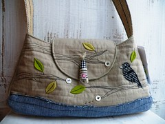 The birds house no. 4 (monaw2008) Tags: tree bird bag leaf branch recycled handmade felt jeans fabric applique handbag reused shoulderbag monaw monaw2008