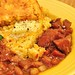 Mmm... pinto beans with ham and cheddar cornbread