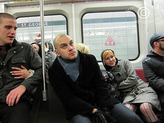 NewYearsDay_20120101_17xsm (DawnOne) Tags: street camera new eve morning girls people toronto men public drunk subway photography dawn high day post escalator young drinking photojournalism free guys linda tired transit heels years bathurst hammond 2012 revellers indyfotocom