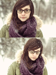 Self. (lindseyannee) Tags: ohio portrait snow lady self canon diptych