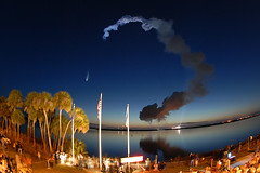 Discovery downrange (Ben_Cooper) Tags: twilight nasa liftoff kennedyspacecenter ksc launch discovery spaceshuttle nationalaeronauticsandspaceadministration shuttlediscovery bananacreek sts131