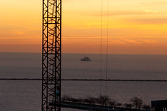 Struts and wires (bradhoc) Tags: morning winter chicago sunrise crane lakemichigan wires chicagoist towercrane lakepointetower