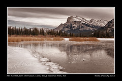 Mt. Rundle from Vermillion Lakes, Banff National Park, Alberta (kgogrady) Tags: park trees winter mountain lake snow canada mountains west color colour reflection tree ice water grass rock clouds landscape rockies frozen nikon afternoon mt rocky noone peak ab nopeople canadian mount national alberta western banff rockymountains mountrundle vermillion rundle banffnationalpark mtrundle d300 vermillionlake
