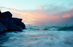 Rushed (35mm) (Matthew Post) Tags: longexposure sunset seascape film canon australia queensland noosa noosaheads ektar noosariver noosanationalpark