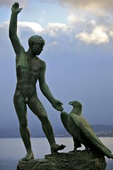 Green Bronze Statue (Alex E. Proimos) Tags: zurich switzerland winter green bronze statue man bird eagle