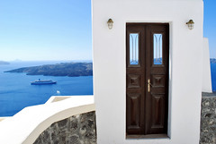 Door to Paradise (Jeka World Photography) Tags: world door travel blue sea white jeff rose horizontal architecture landscape outdoors island greek photography europe day open nopeople santorini greece doorway caldera vacations oia clearsky tranquilscene jeka aegeansea colorimage jeffrose cycladesislands buildingexterior greekculture thewayforward jekaworldphotography jeffrosephotography kalitharosephotography