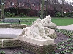 greatbritain england sculpture fountain statue unitedkingdom lion statues lions staffordshire lichfield museumgardens beaconpark gradeiilisted chancellorlawsfountain revchancellorlaw ashlarandiron couchedlions fishtailsandwreath naturalisticheronsfishandreedmace