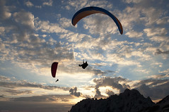 Sunset Flight 2 (marcovdz) Tags: light sunset france clouds marseille lumire provence paragliding nuages paragliders parapente parapentistes