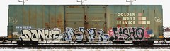 Donut/Asher/Fisho (quiet-silence) Tags: railroad art train graffiti flat ngc railcar donut boxcar graff asher freight goldenwest fr8 cik ssw fisho ssw62714