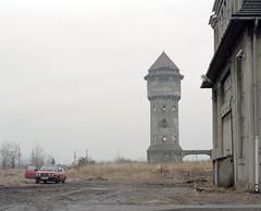 Water tower. (wojszyca) Tags: mamiya rz67 6x7 mediumformat 110mm kodak portra 160 new gossen lunaprosbc epson 4990 car auto volkswagen vw
