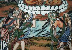 Lower detail: Evil spirits interrupting Buddha's attainment of Great Wisdom (Edvenchers) Tags: art temple buddhism korea tm 대한민국 불교