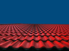Sky and Roof (horstgeorg) Tags: blue roof red sky art texture colors sofia perspective structure bulgaria tiles minimalism minimalismus